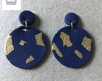 Marine und Gold Tropfen Ohrringe aus fimo