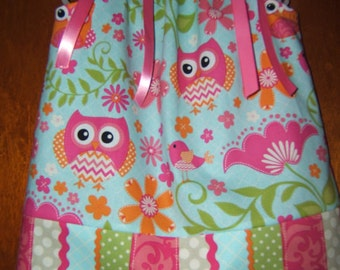 Owl Pillowcase Dress, Aqua Blue, Pink, Green, 3month-8years, Infant Girl, Toddler Girl, Summer, Beach Vacation, Birds, Owls, Birthday Outfit