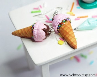 strawberry Ice cream earrings,  Food earring, Food Jewelry, Miniature Food, Clay Food, Ice Cream Jewelry, Waffle Cone Earrings velwoo