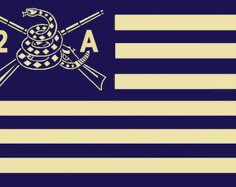 """Second Amendment American Continantal Flag decal (4'x6"""")"""