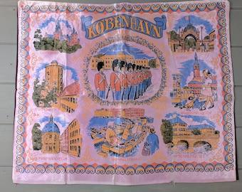 Vintage Pink and Burgundy Silk Kobenhavn Pillow Cover, Souvenir Table Cover or Wall Hanging of Copenhagen Denmark