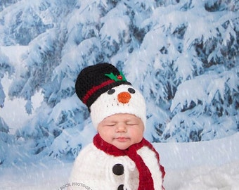 Newborn Snowman Hat/ Newborn Snowman Hat and Swaddle Sack/ Christmas  Baby Photo Prop/  Crochet Snowman Hat/Gender Neutral Prop