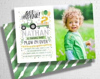 Tractor Birthday Invitation   Farm Birthday Invitation   Green & Yellow Tractor Invitation   DIGITAL FILE ONLY
