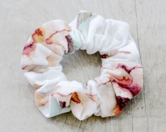 Floral white, tan, and teal green scrunchie, women accessories, girls hair accessories,