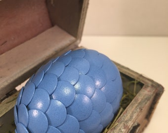 Dragon Egg with Box - Dragon Egg with Chest - Dragon Egg Decor - GoT Dragon Egg - PERIWINKLE - Regal Style Box