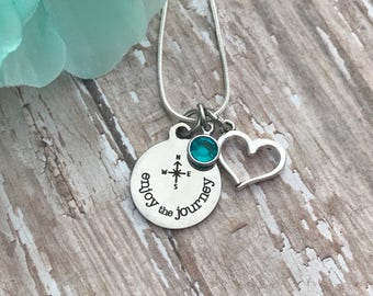 Compass necklace - enjoy the journey - compass in the middle - with matching necklace - inspirational - great gift - fun - with birthstone