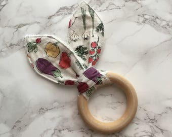 Veggie bunny ear wooden teething ring