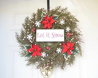 Let It Snow Pine Wreath Artificial Pine Wreath White tin Snowflakes Winter Front Door Decor Christmas wreath Winter wreath
