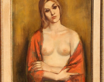 Crossed Arms (Portrait of a Blonde) Oil Painting by Jan De Ruth ca 1964