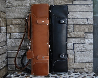 Leather Drumstick Bag Minimalist, Drum Stick Bag, Stick Bag, Black Leather Stick Bags, Brown Leather Stick Bag