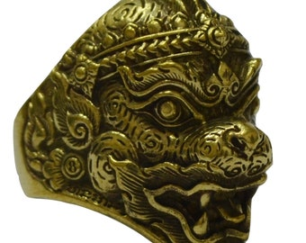 Thai Power Ring Hanuman Monkey Deity in Ramayana Story Power Lucky Pendant