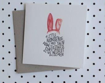 Letterpress Card - Rabbit Roald Dahl Quote