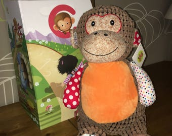 Ideal gift personalized quality plush with gift box. Monkey Harlequin pattern.