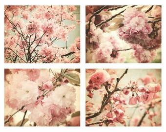 Cherry Blossoms Photographs Set - Pink Sakura - Elegant Cherry Blossoms - Floral Wall Gallery - Romantic Pink Flowers - Nature Photograph