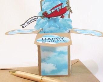 Carte d'anniversaire Pop Up cartes, avion d'anniversaire, carte pour lui, avion avec carte de bannière, cadeau pour pilote, carte pour papa, titulaire de la carte cadeau