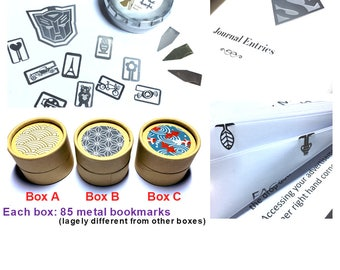 Metal Page Markers Bookmarks in Mystery Gift Box: 85 pieces in a box