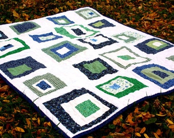 Modern Baby Quilt ,Wonky Block Baby Quilt, Lap Quilt, Crib Quilt, Small Patchwork Quilt in Green, Blue and White
