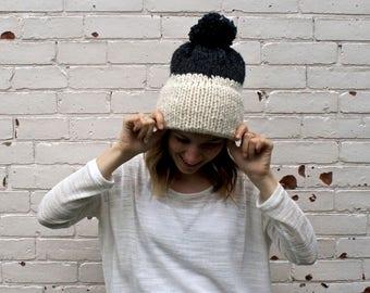 Double Knit Brim Two Colour Pom Pom Hat | Winter Beanie