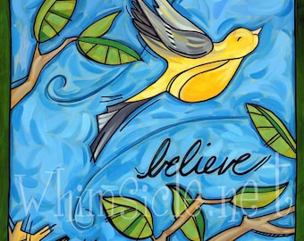 "Bird Art Print inspired by fortune cookies ""Believe/Do"" matted"