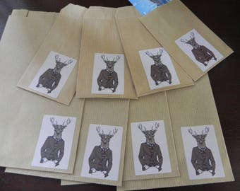 DRESS 8 deer gift bags: 4 small and large 4