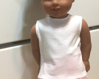 18 inch doll outfit american made girl doll clothing sleeveless t-shirt leggings lace trimmed tank top