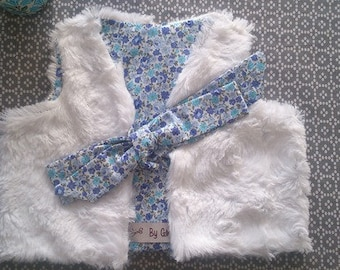 """Vest """"Ginette"""". reversible. cotton fabric and faux fur. sleeveless."""