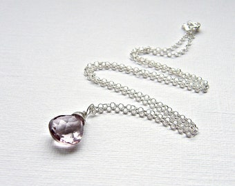 Lilac mystic quartz sterling silver wrapped charm, simple gemstone pendant necklace on optional 925 silver rolo chain, you choose length