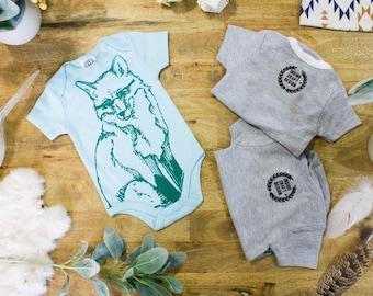 Fox // Short Sleeve Onesie, Teal and Emerald Green- Hand Printed Onesies and Kids Tee Shirts // Screen Printed Onesies and Kids Tees