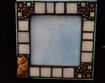Small Picture Frame with Brass Cat
