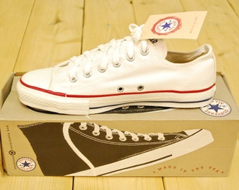 Vintage 1990's Deadstock Optical White CONVERSE CHUCK TAYLOR Lo-Top Sneakers / Size 7 / Made in U.S.A. / Retro Collectable Rare