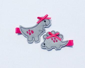 dinosaur hairclips, dinosaur hair clips, dinosaurs, trex, dinos, pink bows, pink ribbon