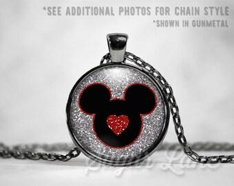 Disney Necklace - Disney Love Necklace - I Love Mickey Necklace - I Love Disney Necklace - Disney Jewelry - Disney Necklace -