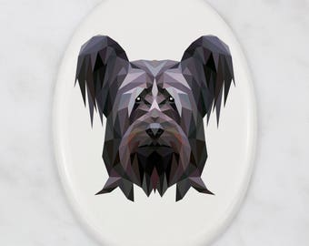 A ceramic tombstone plaque with a Skye terrier dog. Art-Dog geometric dog