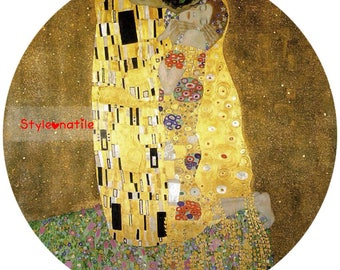 "Lovely Gustav Klimt The Kiss Embrace 9""/23cm design  23cm or 9"" round placemat table mat server centrepiece"