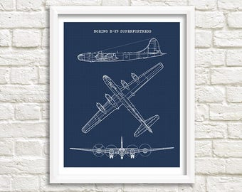 "Boeing B-29 Blueprint, B-29 Superfortress, Instant Download, B29, Aircraft Art, B-29 Superfortress Blueprint, Aviation Decor, 8x10"", 11x14"""