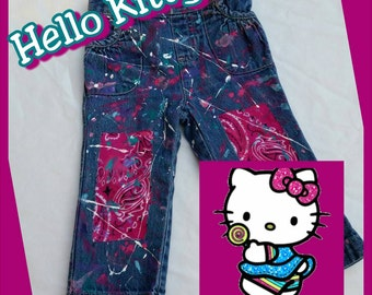 Hello Kitty Inspired Splatter Painted Distressed Ripped Jeans- Shorts- Skirts- Baby Girl- Baby Boy- Kids Fashion- Newborn- Infant- Toddler