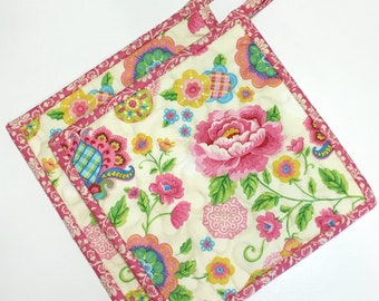 Rose Pink Cream Floral Pot holders-Hot Pads-Modern Kitchen-Quilted (Set of Two) Handmade