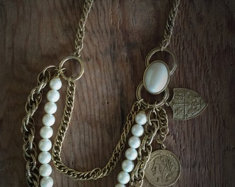 Vintage Multistrand Gold Charm Necklace