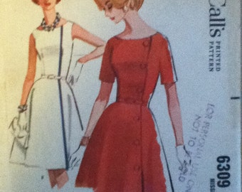 "McCall's Vintage Dress Pattern 6309  Size: 14,  Bust 34"", Waist 26"", Hip 36"""