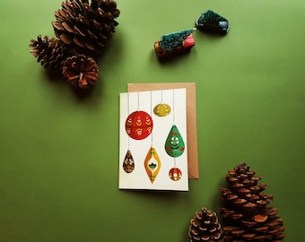Christmas Baubles Illustration Greeting Card Set