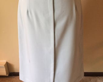Vintage Light Blue Pencil Skirt with Matching Belt // 1970's Pencil Skirt with Back Slit
