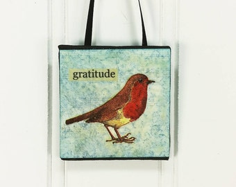 Gratitude! Whimsical Red Breast Little Bird Ornament Wild Bird Word Art Miniature Art