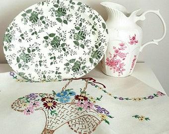 Charming Vintage Oval Green Flower Plate / Serving Platter