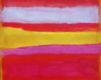Large original abstract color field  painting blocks red, rose pink, yellow ochre wall art ready to hang painting Rothko inspired