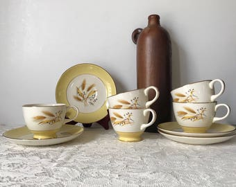 Autumn Gold China * Homer Laughlin Autumn Gold * Century Service Corp. * Wheat Pattern * Cups and Saucers * Yellow Dinnerware * Mid Century