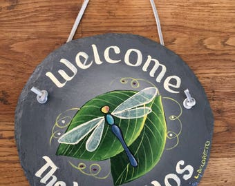Handpainted Spring Dragonfly Personalized Small Welcome Sign