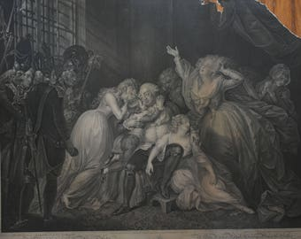 """Steel Engraving Titled: """"The Final Interview of Louis the Sixteenth with His Family in the Temple at Paris."""""""