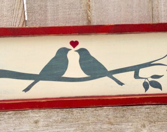 Wedding Decor Wood Sign Valentine's Decor Wooden Sign Lovebirds Rustic Wedding Decor Valentine's Day Gift Wedding Anniversary Gift Farmhouse