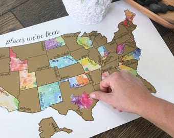 Watercolor Scratch Off Map - United States of America Travel Map (USA)- Been There Scratched That - Mother's Day Gift