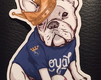 Vinyl Sticker - Kansas City Baseball - French Bulldog - Royals - free shipping